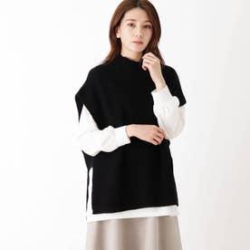 【M-LL/2点セット】片畔モックネックベスト+長袖Tシャツ (ブラック)