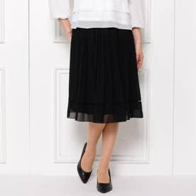 【フリーサイズ/洗濯機可】ランダムプリーツスカート (ブラック)
