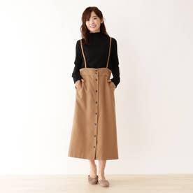 サス付きミディー丈スカート (キャメル)
