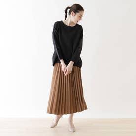 【2点セット】プルオーバージャージ+プリーツスカート (ブラック)