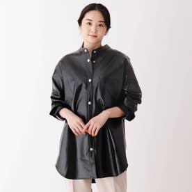 エコレザーシャツジャケット (ブラック)