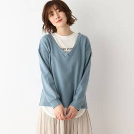 【2点セット】深Vプルオーバー+ロゴTシャツ (ライトブルー)