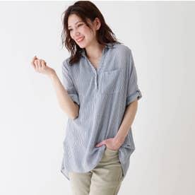 【M-3L/2点セット】スラブスキッパーシャツ+タンクトップ (ネイビー)
