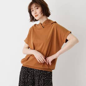 コットン混抜き衿Tシャツ (キャメル)