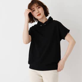 コットン混抜き衿Tシャツ (ブラック)
