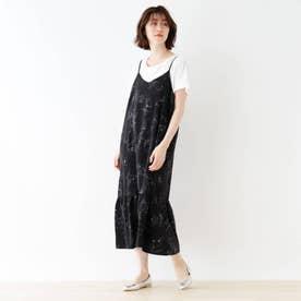 【2点セット】フラワー柄キャミワンピース (ブラック)