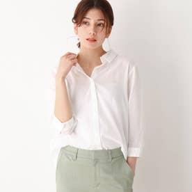 薄手ガーゼ風前あきシャツ (ホワイト)