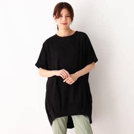 裾タックドルマンワンピース (ブラック)