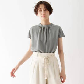 接触冷感スタンドカラーTシャツ (グレー)