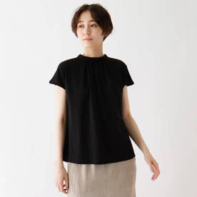 接触冷感スタンドカラーTシャツ (ブラック)