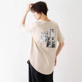 接触冷感 転写プリントTシャツ (ライトベージュ)