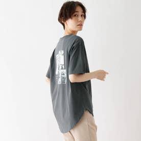 接触冷感 転写プリントTシャツ (ディープグレー)