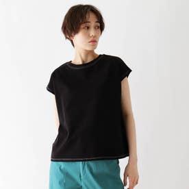 接触冷感配色ステッチTシャツ (ブラック)