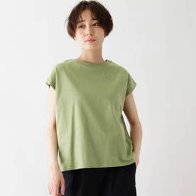 接触冷感配色ステッチTシャツ (イエローグリーン)