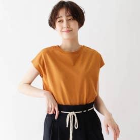 接触冷感配色ステッチTシャツ (オレンジ)