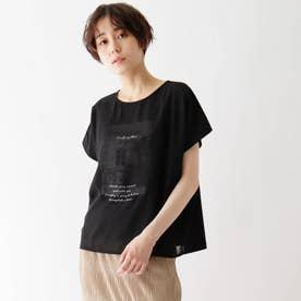 シフォンレイヤード転写プリントTシャツ (ブラック)