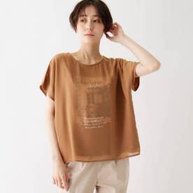 シフォンレイヤード転写プリントTシャツ (キャメル)