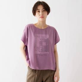 シフォンレイヤード転写プリントTシャツ (パープル)