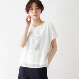 シフォンレイヤード転写プリントTシャツ (オフホワイト)