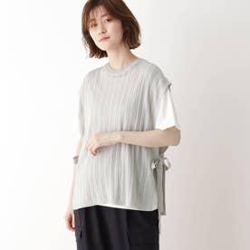 【2点セット】ニットベスト×Tシャツ (ライトグレー)