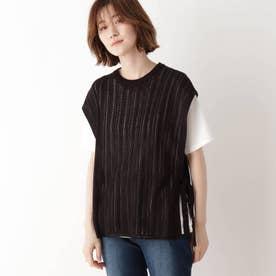 【2点セット】ニットベスト×Tシャツ (ブラック)