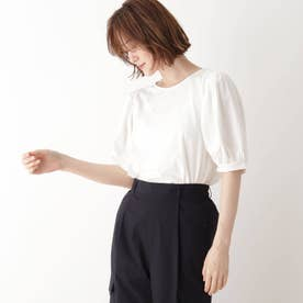 ひんやり袖ギャザーTシャツ (オフホワイト)