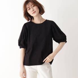 ひんやり袖ギャザーTシャツ (ブラック)