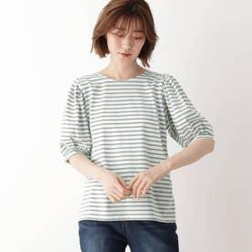 ひんやり袖ギャザーTシャツ (ライトグレー)