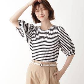 ひんやり袖ギャザーTシャツ (ブラック×ホワイト)