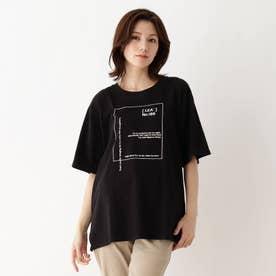 【M-3L】ロゴアソートプリントTシャツ (ブラック)