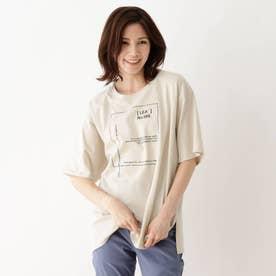 【M-3L】ロゴアソートプリントTシャツ (ナチュラル)