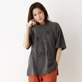 【M-3L】ロゴアソートプリントTシャツ (チャコールグレー)
