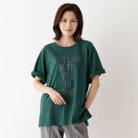 【M-3L】ロゴアソートプリントTシャツ (ダークグリーン)
