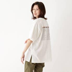 【M-3L】ロゴアソートプリントTシャツ (ホワイト)