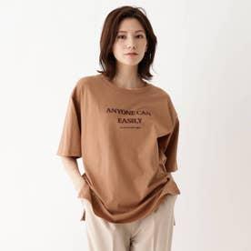 【M-3L】ロゴアソートプリントTシャツ (ブラウン)