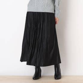 ◆【藤本美貴さん着用商品】チンツ加工ギャザースカート (ブラック)