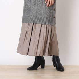 ◆【藤本美貴さん着用商品】チンツ加工ギャザースカート (サンドベージュ)