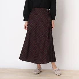 ラップ風サイドプリ-ツチェック柄スカート (ボルドー)