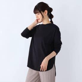 USAコットン裾ラウンド長袖Tシャツ (ブラック)