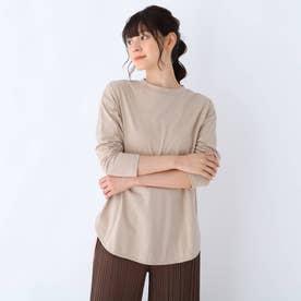 USAコットン裾ラウンド長袖Tシャツ (ベージュ)