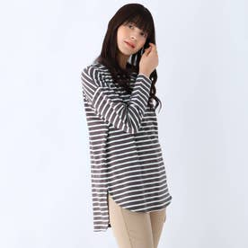 USAコットン裾ラウンド長袖Tシャツ (ディープグレー)