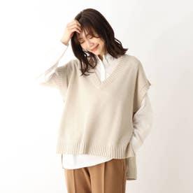 【2点セット】スキッパーシャツ×ニットベストセット (ライトベージュ)