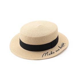 ロゴ刺繍カンカン帽 (アイボリー)
