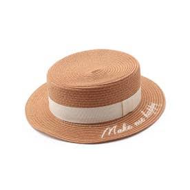 ロゴ刺繍カンカン帽 (ベージュ)