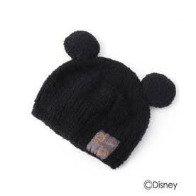 【Disney】耳付きモールニット帽 (ブラック)