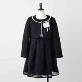 【3点SET/110-130cm】セレモニー シアーボーダーワンピース (ブラック)
