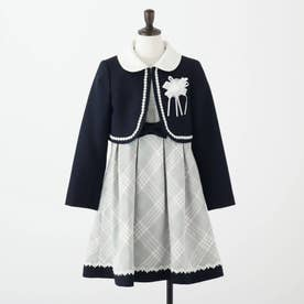 【セレモニー/入卒/3点セット】ボレロ付きチェックワンピース (ネイビー)