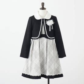 【セレモニー/入卒/3点セット】ボレロ付きチェックワンピース (ブラック)