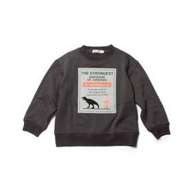 【90-130cm】裏シャギーロゴフロッキー恐竜トレーナー (チャコールグレー)