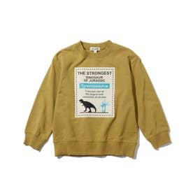 【90-130cm】ミニ裏毛スクエア恐竜プルオーバー (イエローグリーン)